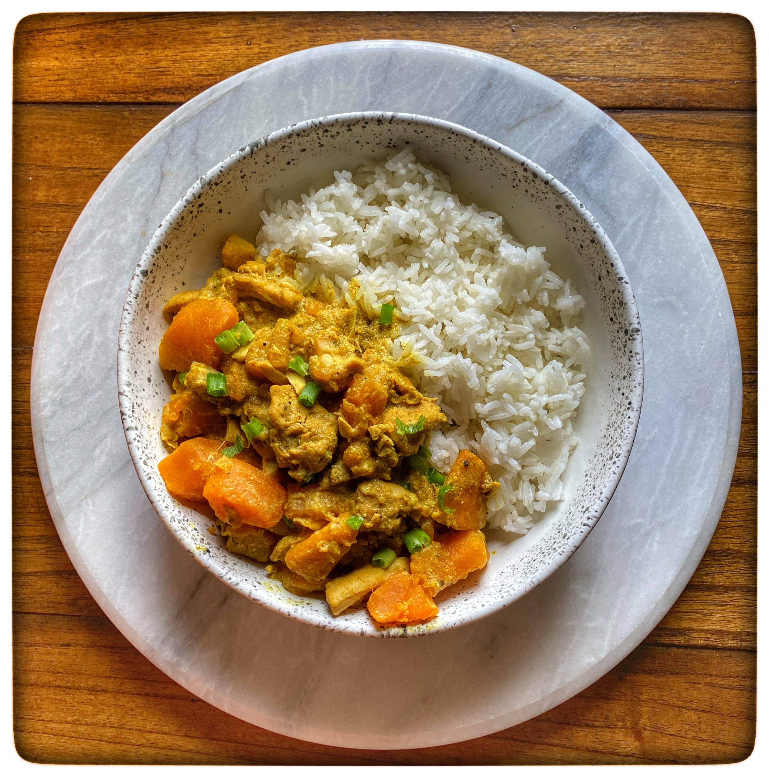 Jasmine Rice with Curried Sweet Potato and Chicken