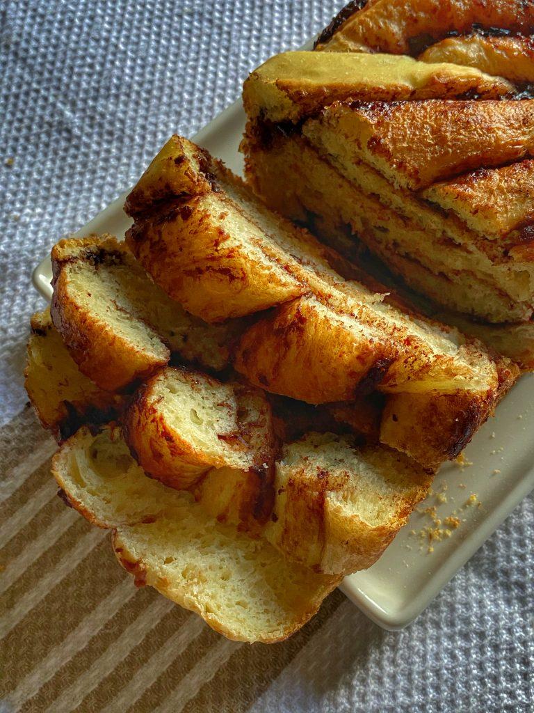 sliced baked nutella bread