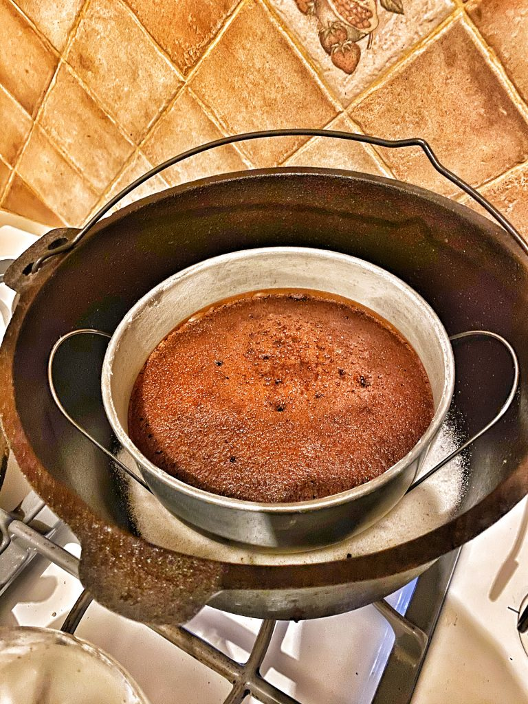 chocolate cake baked in dutch oven