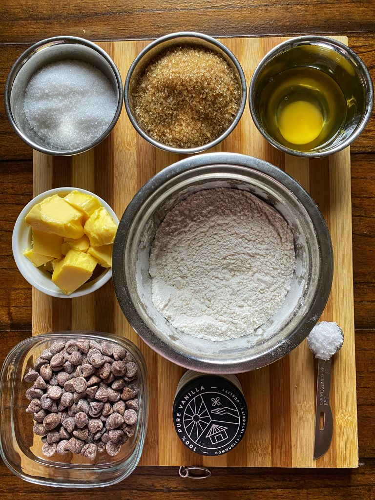 chocolate chip ingredients on board